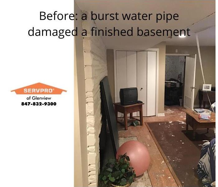 Image of a finished basement showing water and mold damage