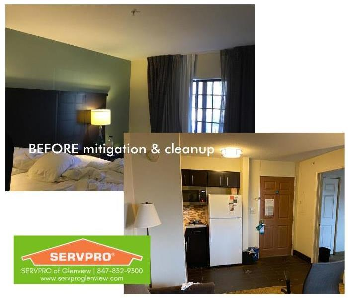 Hotel bedroom & kitchen areas, pre-mitigation, after a water pipe burst in the ceiling