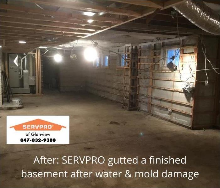 Image of gutted basement after SERVPRO came in