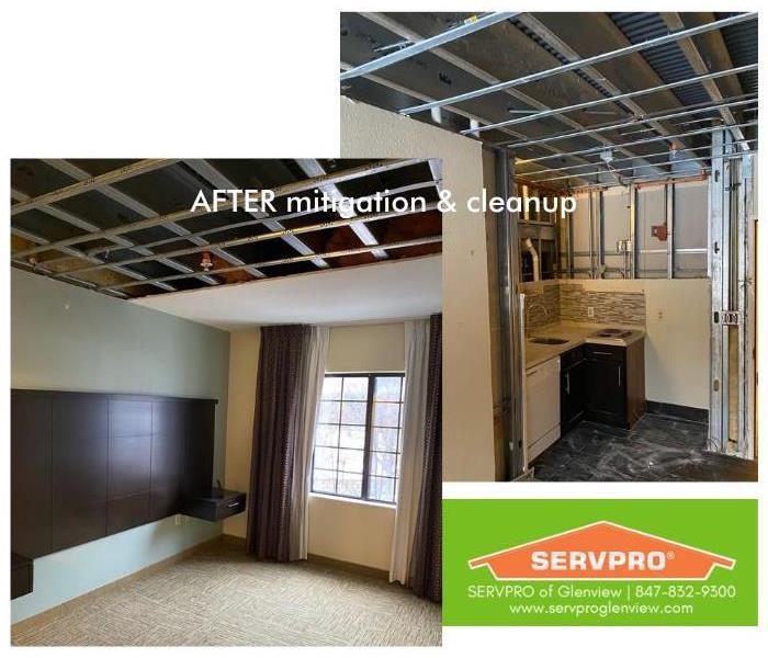 Hotel bedroom & kitchen areas, post-mitigation and cleanup, where ceiling & walls were cut out
