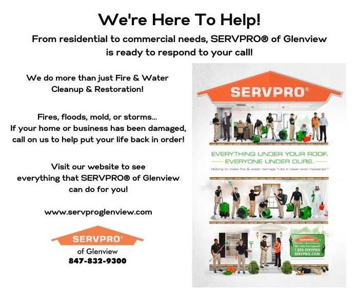 Graphic showing a number of services offered by SERVPRO