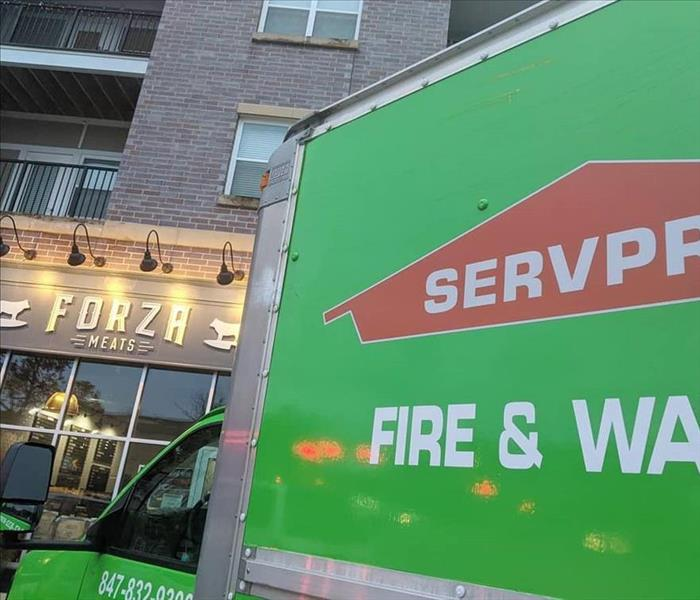 SERVPRO truck outside Forza Meats, a local butcher shop