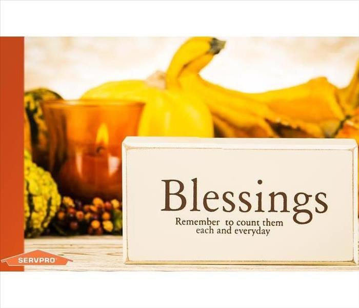 "Fall vegetables adorn a table, with the words ""Blessings: Remember to count them each and every day."""
