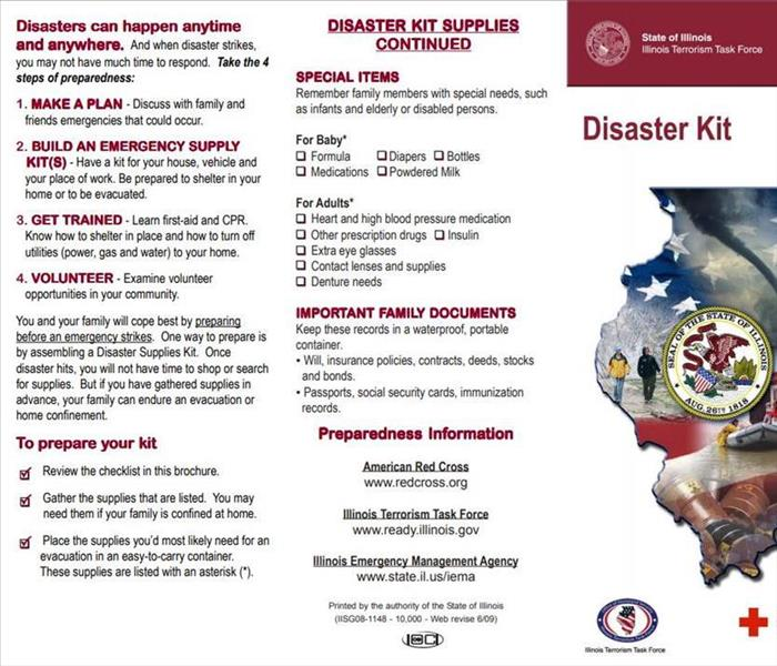 Itemized list to prepare a disaster supply kit