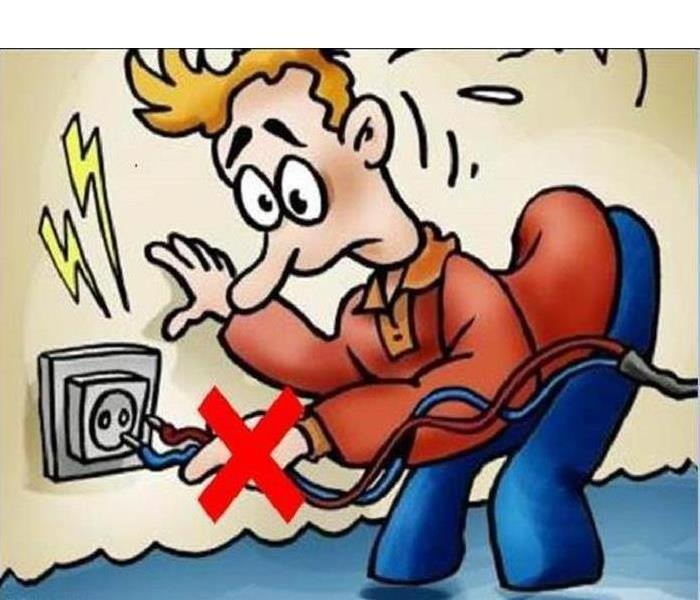 Cartoon depicting someone standing ankle deep in water plugging wires into an outlet and getting zapped