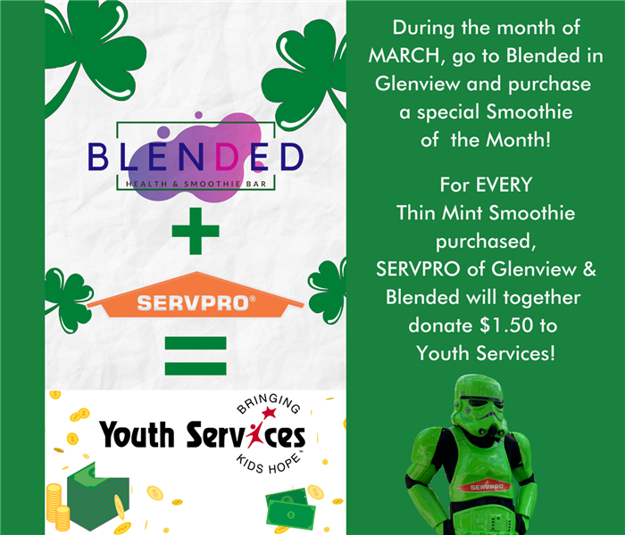 Graphic showing Blended logo plus SERVPRO logo equals GSGN logo, with a headshot of a green SERVPRO Storm Trooper