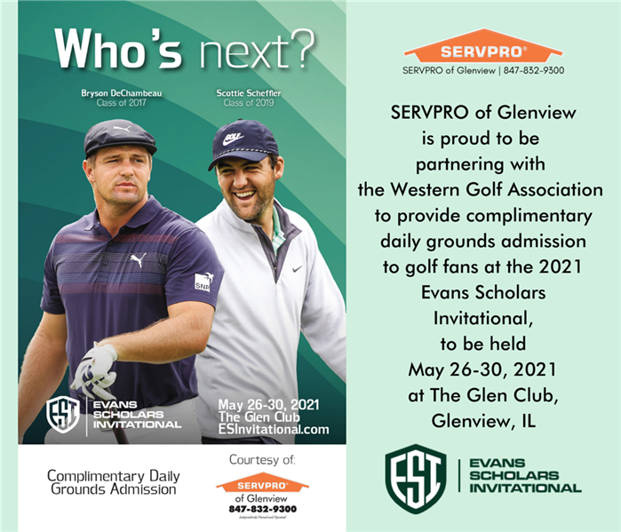 Two Evans Scholars golfers who are playing in the ESI this year, along with text announcing SERVPRO is sponsoring attendance