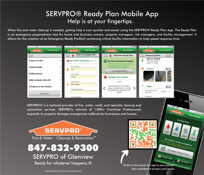 Ad with text explaining the SERVPRO Emergency Read Plan phone app