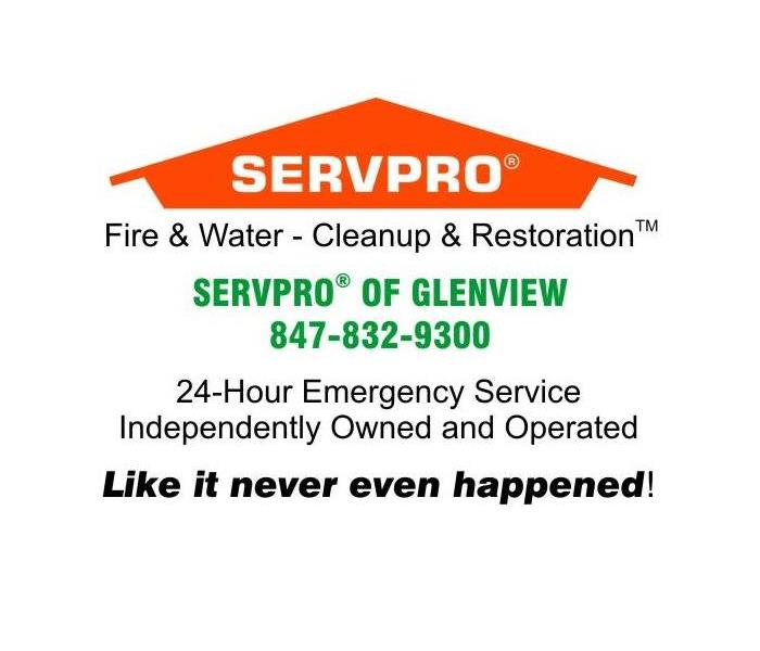 Image shows SERVPRO of Glenview calling card information including the phone number 847-832-9300