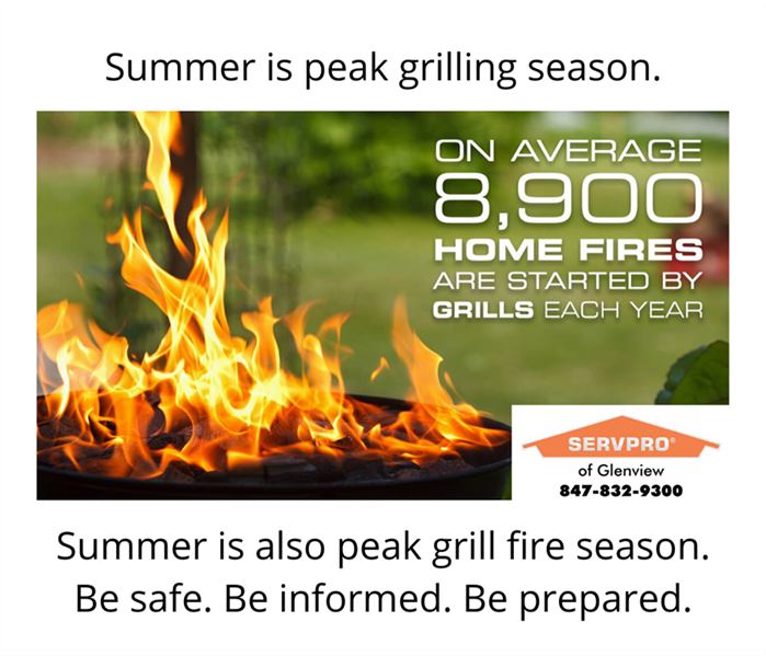 Food on grill on fire and text stating that on average, 8900 home fires are started by grills each year.