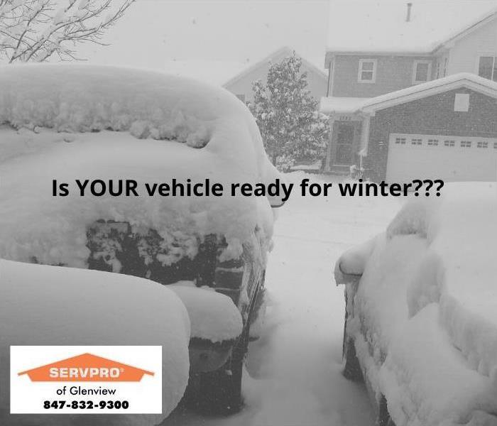 Image of snow-covered vehicles with text that reads: Is YOUR vehicle ready for winter?