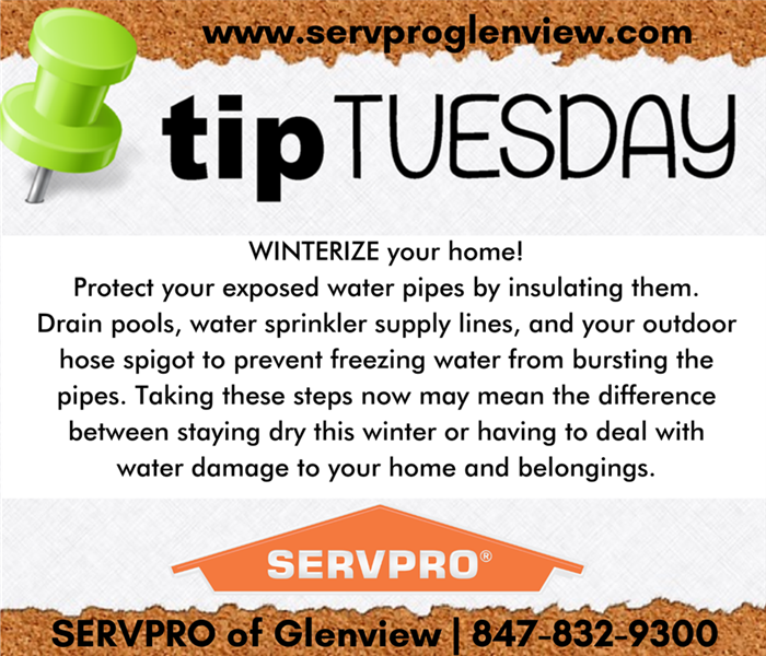 Tip Tuesday graphics with text advising to winterize your home